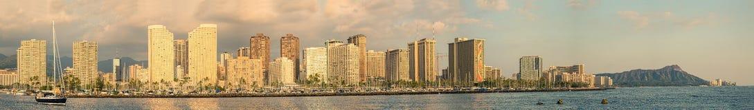 Panorama di Waikiki Fotografia Stock