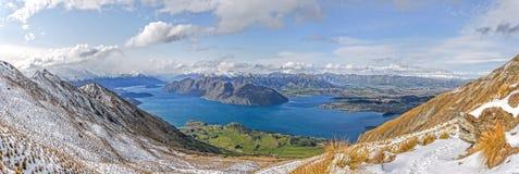 Panorama di Wanaka del lago Fotografie Stock