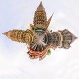 Panorama 360 di Wat Phra Chettuphon Wimon Mangkhalaram Ratchaworamahawihan Wat Pho immagine stock libera da diritti