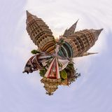 Panorama 360 di Wat Phra Chettuphon Wimon Mangkhalaram Ratchaworamahawihan Wat Pho fotografie stock libere da diritti