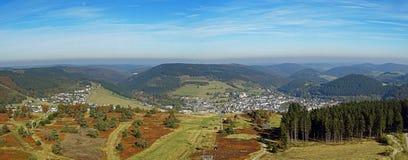 Panorama di Willingen nella regione di Sauerland (Germania) Fotografie Stock