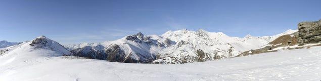 Panorama di XL delle alpi italiane nell'inverno Fotografie Stock