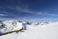 Panorama di XL delle alpi italiane nell'inverno Immagine Stock