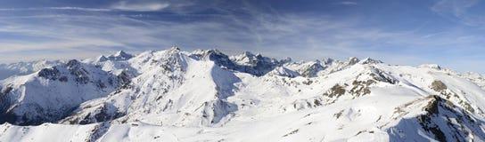 Panorama di XL delle alpi italiane nell'inverno Immagine Stock Libera da Diritti