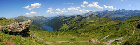 Panorama on the Diablerets mountains. Panorama from La Palette peak (Switzerland - 2171m) on the Diablerets mountains and the Arnon Lake Royalty Free Stock Photos