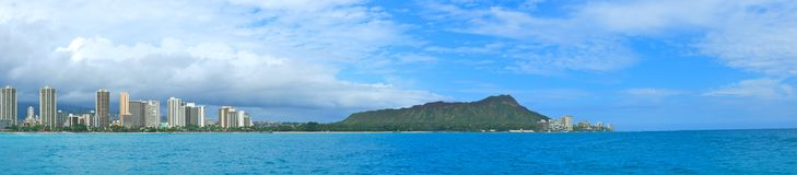 Panorama of Diamond Head and Waikiki Royalty Free Stock Photo