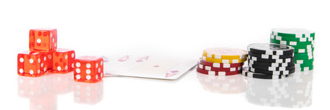 Panorama with dice, poker chips and playing cards Stock Photos