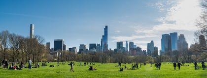 Panorama die van Central Park, zuiden onder ogen zien Stock Fotografie
