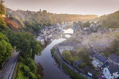 Panorama of Dinan at sunrise Stock Photos