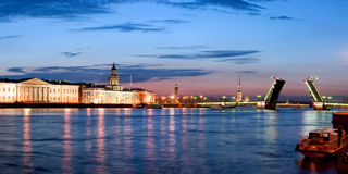 Panorama of the dissolved Palace bridge. The raised Palace bridge at white nights in the city of St.-Petersburg royalty free stock photos