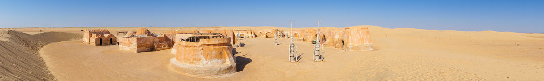 Panorama distant romantic years Star Wars. Location filming in Tunisia ustyne royalty free stock photo