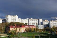 Panorama in distretto amministrativo di Mosca - città Zelenograd con altezza del volo del ` s dell'uccello Immagini Stock Libere da Diritti