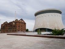 Panorama distrutto della costruzione e del museo del mulino di Stalingrad a Volgograd fotografia stock libera da diritti
