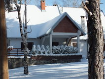 Panorama Divcibare mountain. House in snow Divcibare mountain Royalty Free Stock Photography