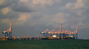 Panorama of Djibouti port , ships and cargo crane Royalty Free Stock Images