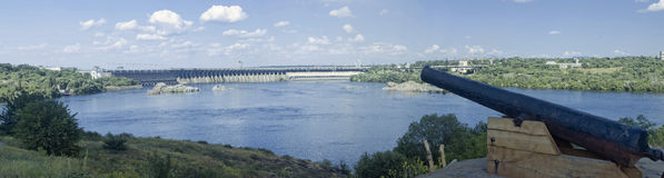 Panorama of the Dnieper Hydroelectric Station Stock Images