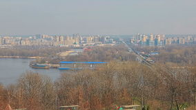 Panorama of Dnieper, Kiev. Panorama of Left Bank of Dnieper with Metro Bridge over Dnieper in Kiev, Ukraine stock video
