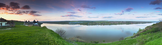 Panorama of Dniester. Panoramic wiev on Dniester river near Khotyn fortress Royalty Free Stock Photo