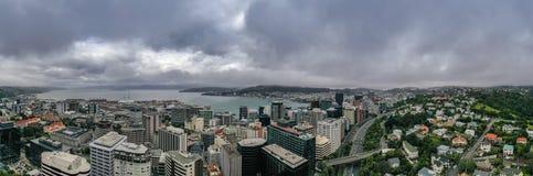 Panorama do ângulo alto, Wellington City imagem de stock