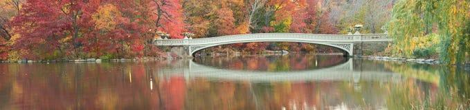 Panorama do alvorecer da queda da ponte da curva em Central Park. Imagem de Stock