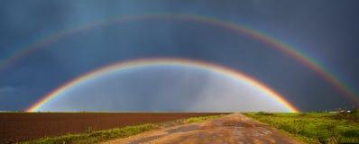 Panorama do arco-íris fotografia de stock