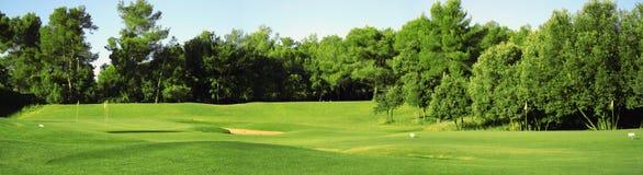 Panorama do campo do golfe Fotografia de Stock