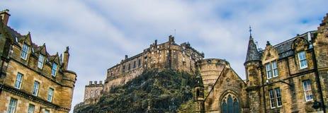 Panorama do castelo de Edimburgo Fotos de Stock Royalty Free