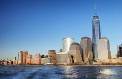 Panorama do centro da skyline de New York do parque de Liberty State, EUA imagens de stock