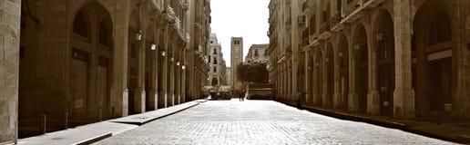 Panorama do centro de Beirute no Sepia imagens de stock
