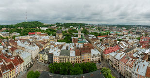 Panorama do centro de Lviv Fotografia de Stock Royalty Free