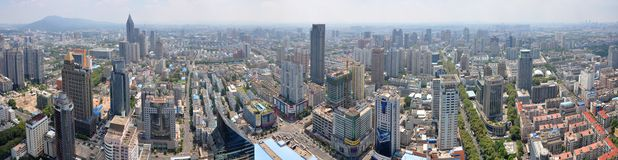 Panorama do centro de Nanjing City, Nanjing, China Imagem de Stock