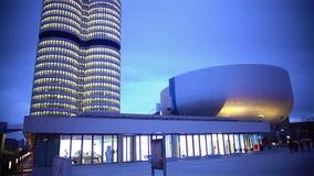Panorama do centro de negócios de vidro moderno, projeto bonito, lugar de trabalho video estoque