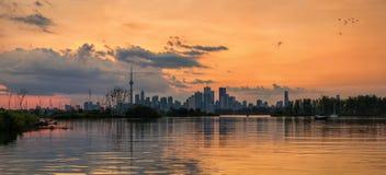 Panorama do centro de Toronto no por do sol imagens de stock