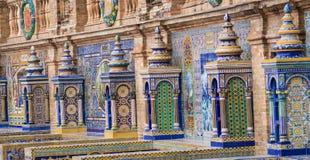Panorama do espanhol Quadrado Plaza de Espana em Sevilha em um bea Fotografia de Stock