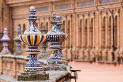 Panorama do espanhol Quadrado Plaza de Espana em Sevilha em um bea Imagem de Stock Royalty Free