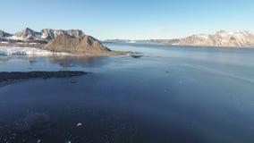 Panorama do fiorde de Hornsund visto pelo zangão da câmera fotografia de stock royalty free