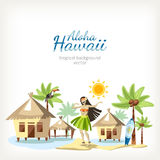 Panorama do fundo de Havaí ilustração royalty free