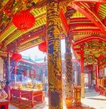 Panorama do Hock Keong Temple de Kheng, Yangon, Myanmar fotos de stock
