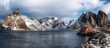 Panorama do inverno de Hamnoy Imagem de Stock