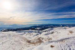 Panorama do inverno de Monte Grappa, Itália Fotografia de Stock Royalty Free
