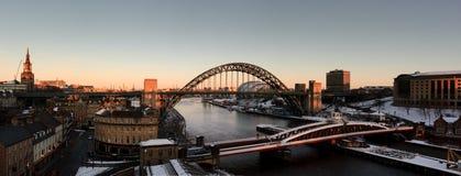 Panorama do inverno de Newcastle Gateshead Fotos de Stock Royalty Free