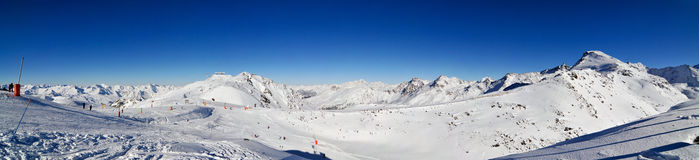 Panorama do inverno dos alpes Fotografia de Stock