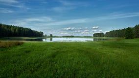 panorama do lago do verão na floresta do fundo e no céu azul Imagem de Stock Royalty Free