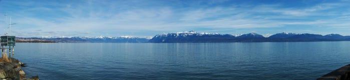 Panorama do lago geneva Foto de Stock Royalty Free