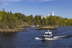 Panorama do Lago Ladoga e da ilha de Valaam fotos de stock royalty free