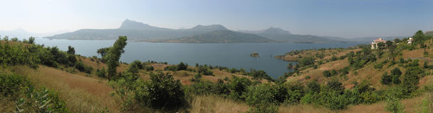 Panorama do lago Lonavala fotografia de stock