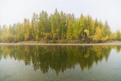 Panorama do lago selvagem na esta??o do outono, R?ssia da floresta imagens de stock
