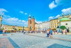 Panorama do mercado principal em Krakow, Polônia Imagens de Stock Royalty Free