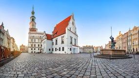 Panorama do mercado velho em Poznan, Polônia fotos de stock royalty free