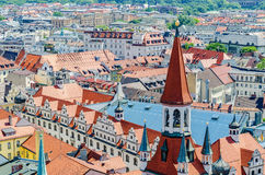 Panorama do Munich e da vista da torre da câmara municipal velha, Baviera, Alemanha Fotografia de Stock